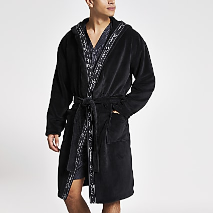 Black Prolific tape fleece dressing gown