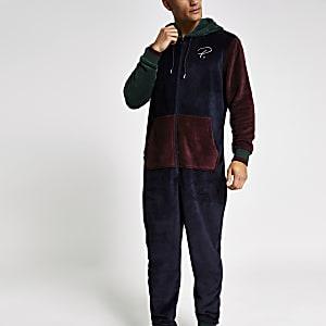 Prolific - Marineblauwe contrasterende loungekleding onesie met RI-logo