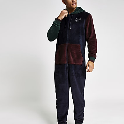 Prolific navy contrast loungewear onesie