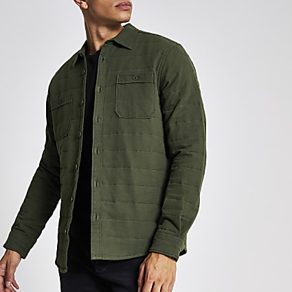 Only & Sons khaki quilted overshirt