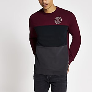 Only & Sons - Sweat colour block rouge