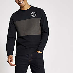 Only & Sons marineblaues Sweatshirt in Blockfarben