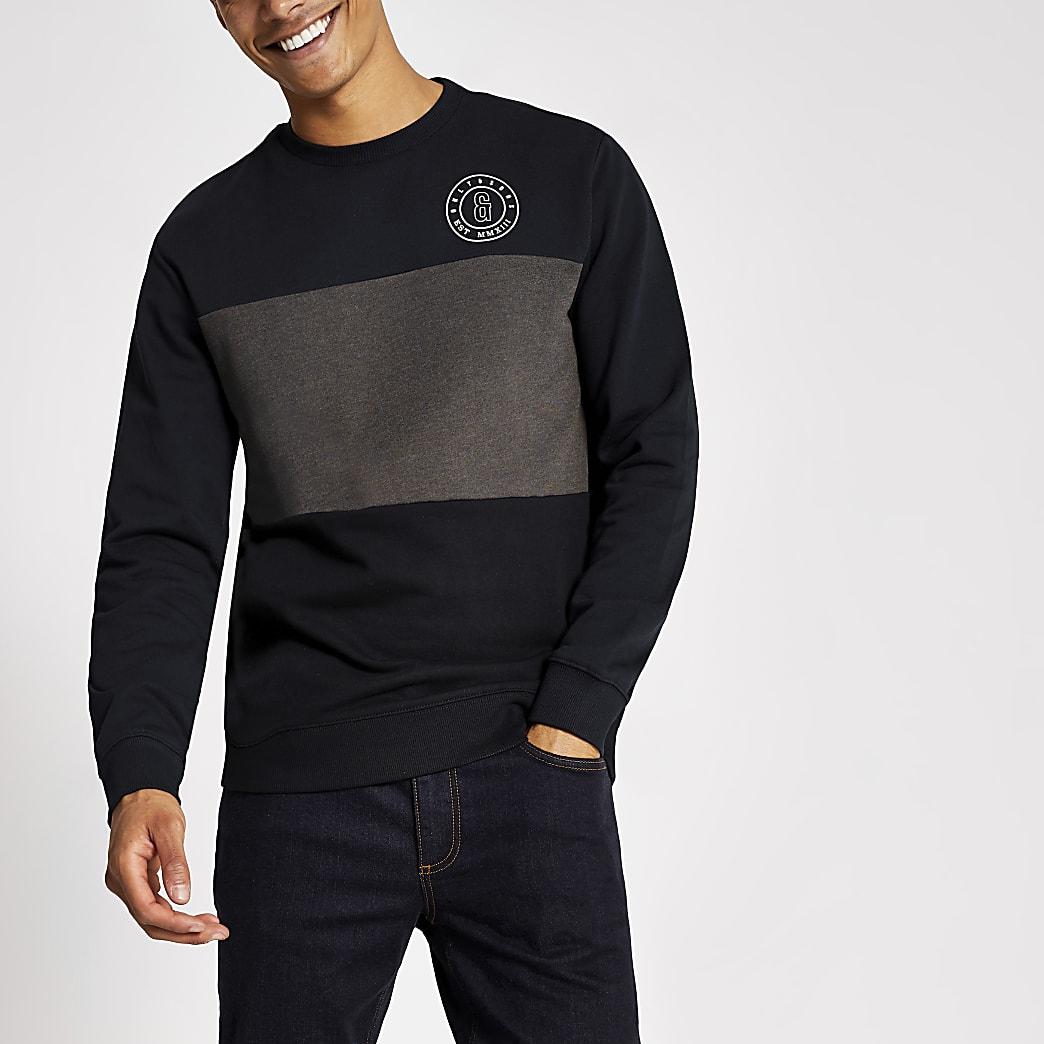 Only & Sons navy blocked sweatshirt