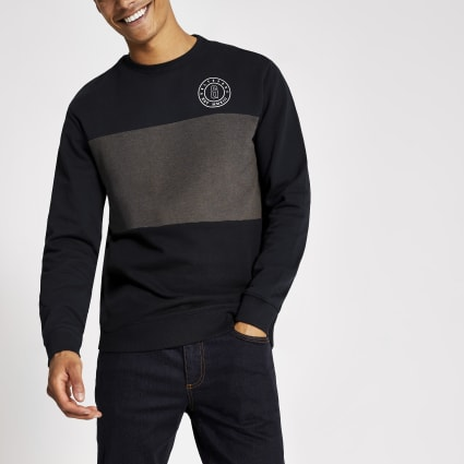 Only & Sons navy blocked sweatshirt