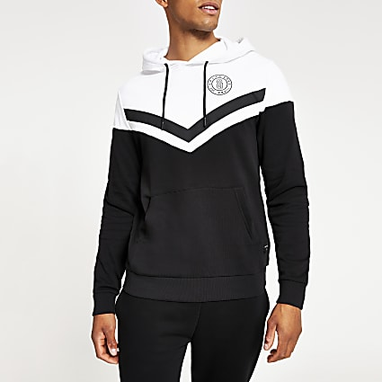 Only & Sons black colour block hoodie
