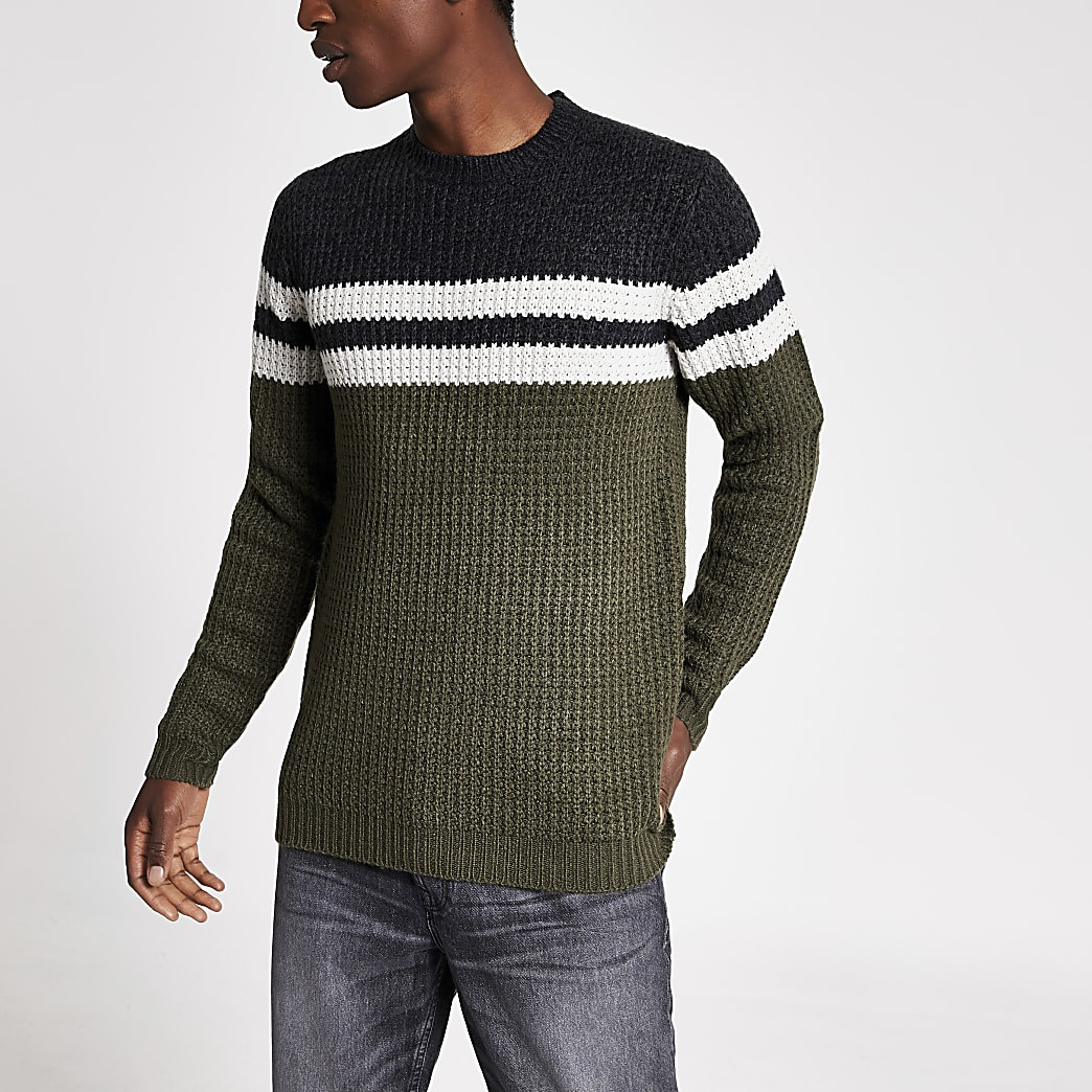 Only & Sons green colour block knit jumper