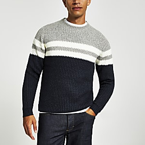Only & Sons – Pull en maille noir colour block