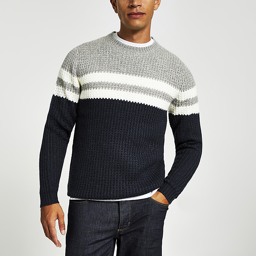 Only& Sons - Pull en maille bleu marineà rayures