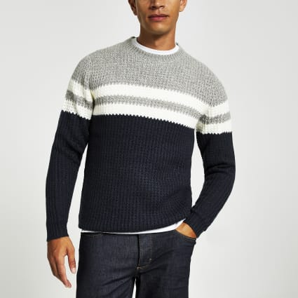 Only & Sons navy stripe knit jumper