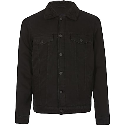 Only and Sons black denim borg trim jacket