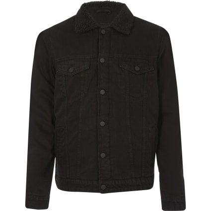 Only and Sons black denim borg trim jacket