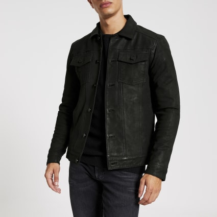 Only & Sons black leather button jacket