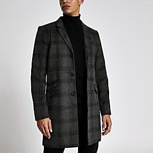 Only & Sons - Grijze geruite jas met enkele knopenrij