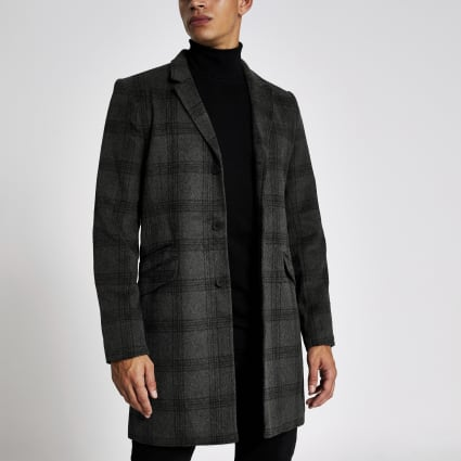 Only & Sons grey check single breasted coat