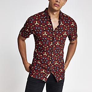 Rotes, bedrucktes Slim Fit Hemd