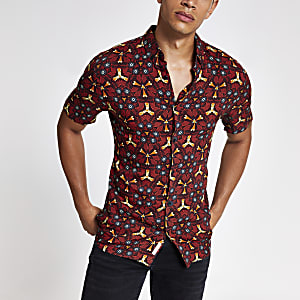 Rood slim-fit overhemd met caleidoscoopprint