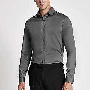 Dunkelgraunes, langärmeliges Slim Fit Premium-Hemd