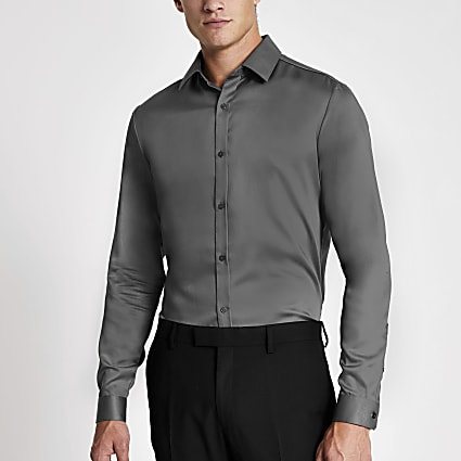 Dark grey slim fit long sleeve premium shirt