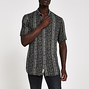 Black aztec short sleeve shirt