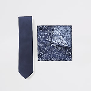 Set aus Krawatte und Einstecktuch mit marineblauem Paisley-Muster