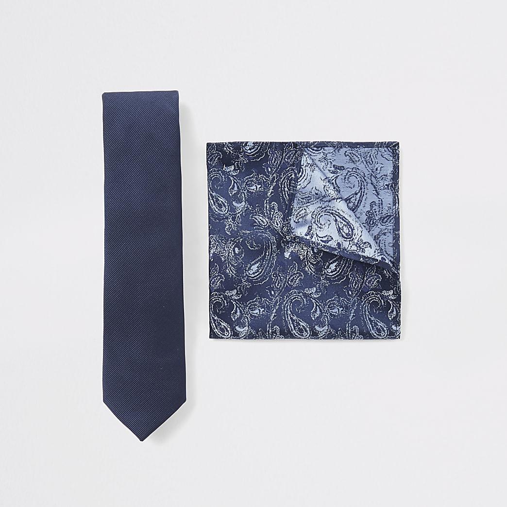 Set met marineblauwe paisley stropdas en zakdoek