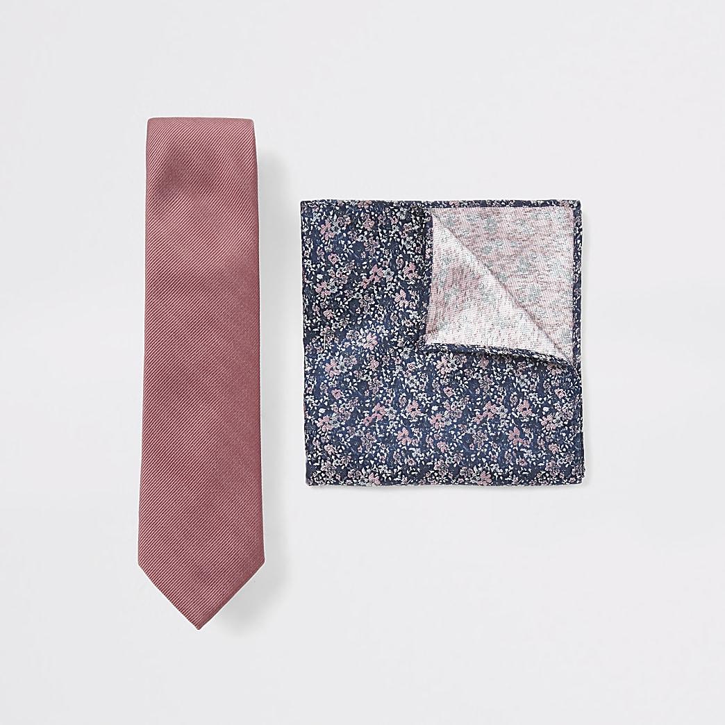 Pink floral print tie and handkerchief set