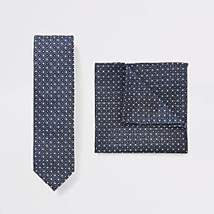 Blaue Krawatte und Einstecktuch mit Geo-Muster, Set