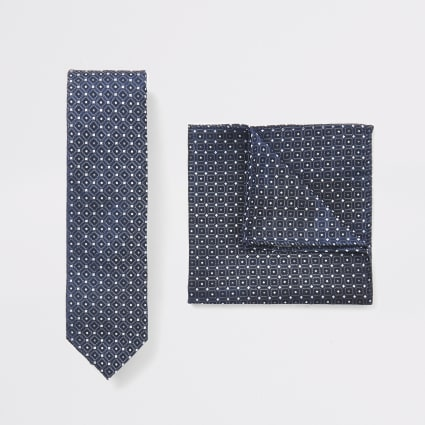 Blue tie and geo print handkerchief set