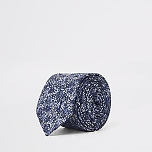 Marineblaue Krawatte mit Blumenprint