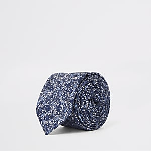 Marineblauwe stropdas met fijne bloemenprint