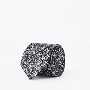 Schwarze Krawatte mit Blumenmuster
