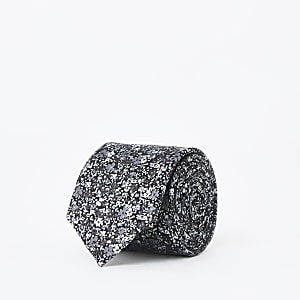 Zwarte stropdas met fijne bloemenprint