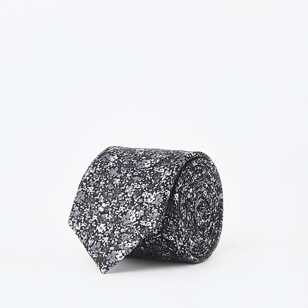 Black floral ditsy print tie