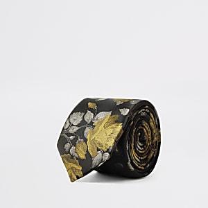 Cravate à imprimé fleuri noir