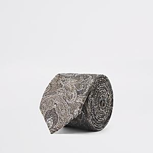 Braune Krawatte mit Paisley-Muster