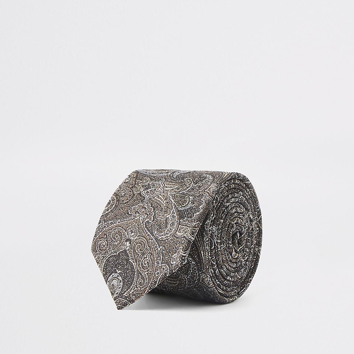 Brown paisley print tie