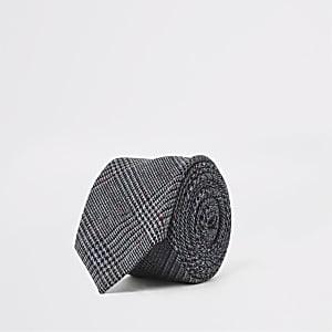 Marineblauwe stropdas met ruitprint