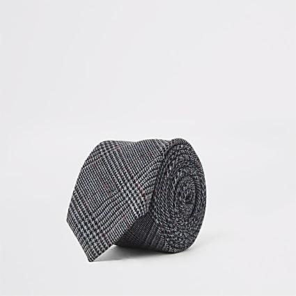 Navy check print tie