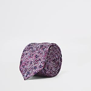 Paarse stropdas met fijne bloemenprint