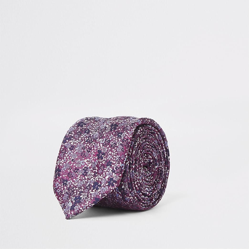 Cravate violette à imprimé petites fleurs