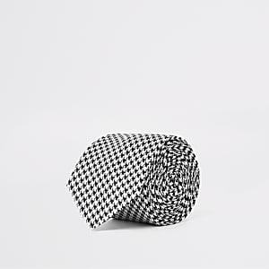 Cravate texturée pied-de-poule noire