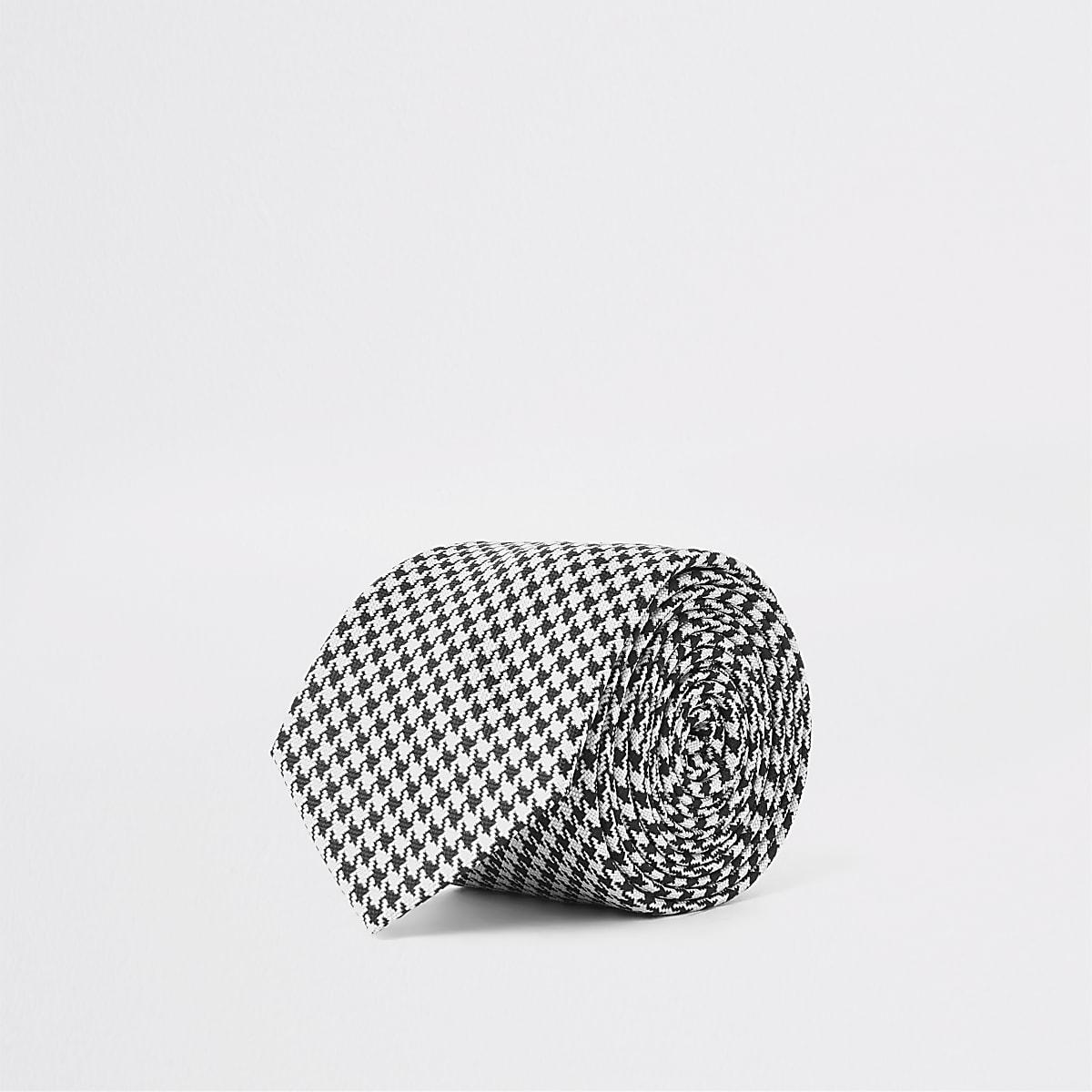 Zwarte stropdas met pied-de-poule print en textuur