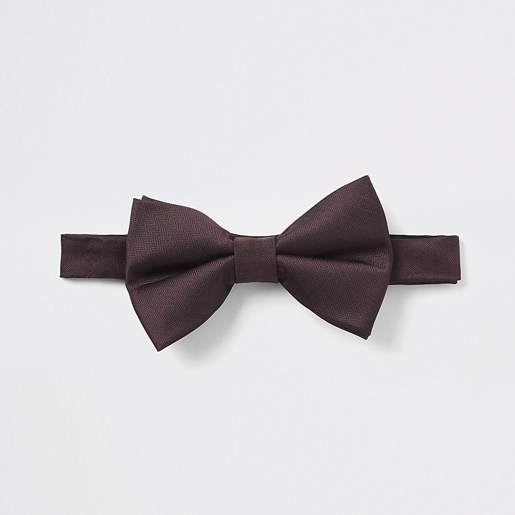 Burgundy herringbone bow tie