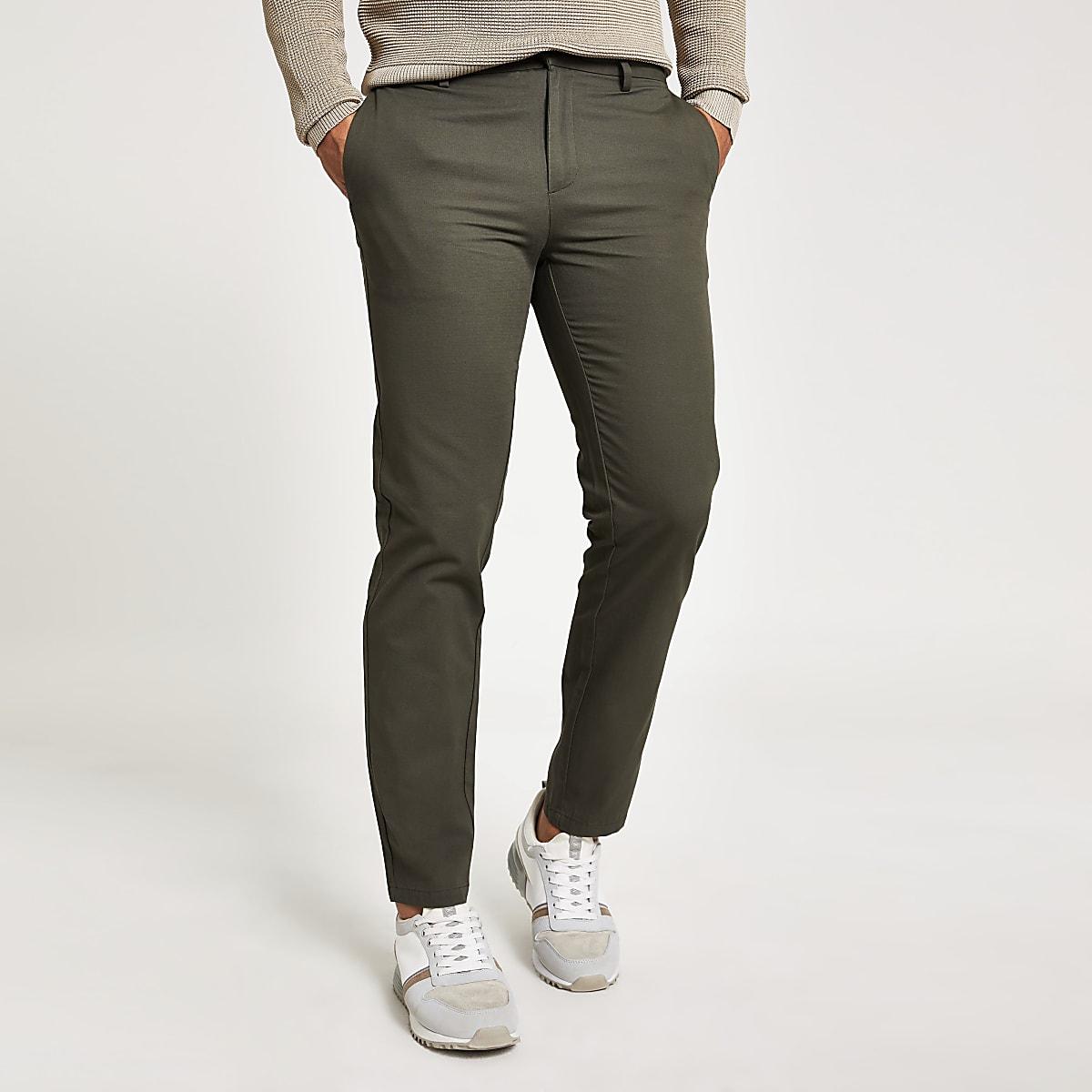 Khaki slim Dylan chino trousers