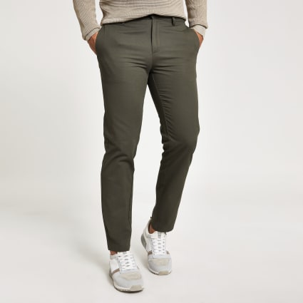 Khaki slim Dylan chino trousers