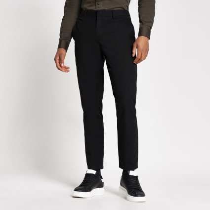 Black slim chino trousers