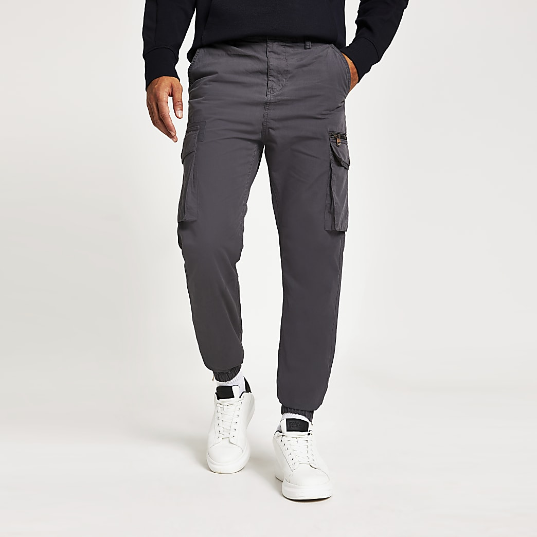 Grey cargo trousers