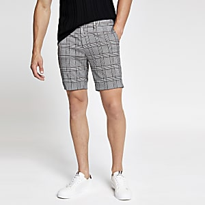 Grey check super skinny cropped shorts