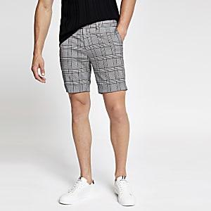 Short court ultra skinny à carreaux gris
