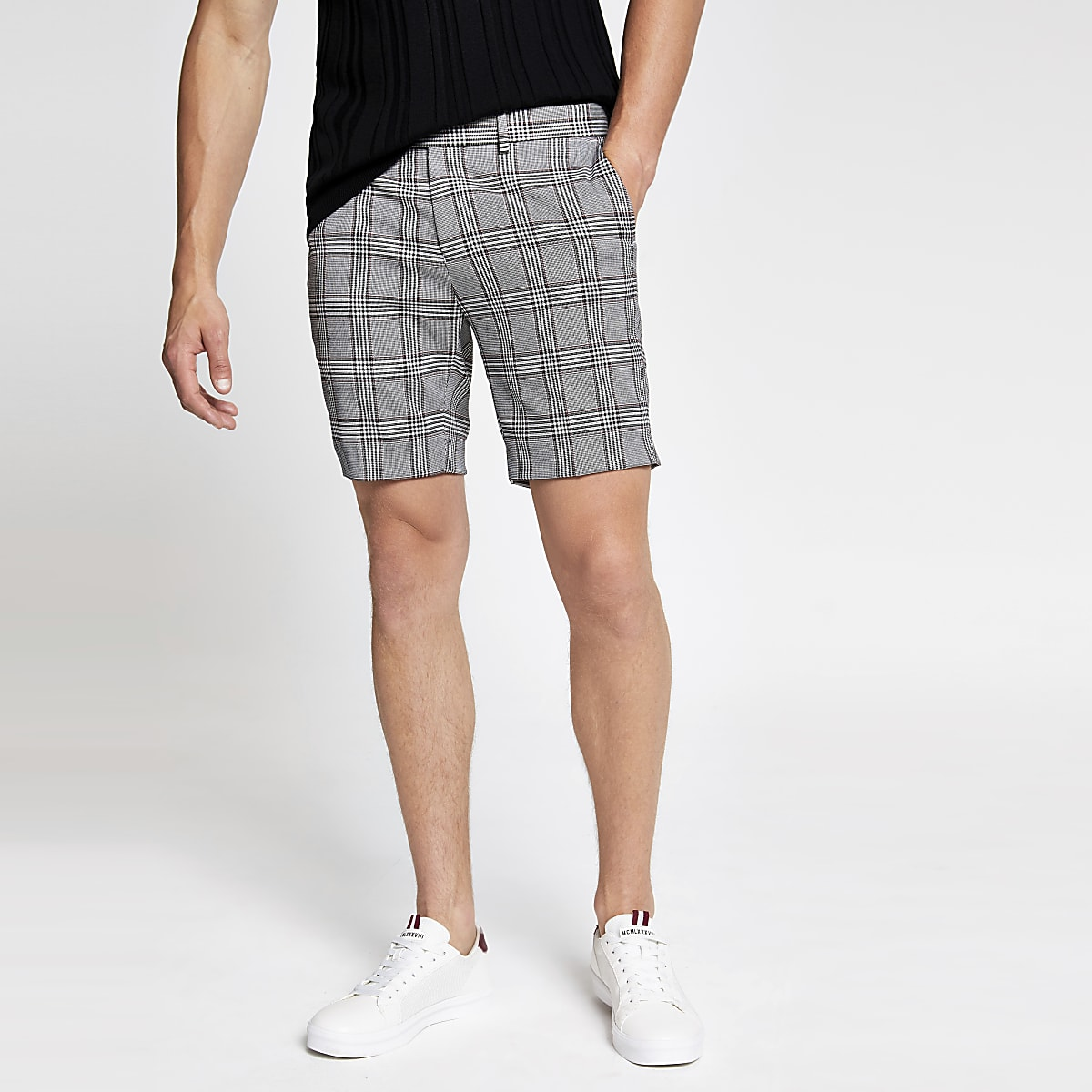 Grey check super skinny cropped shorts
